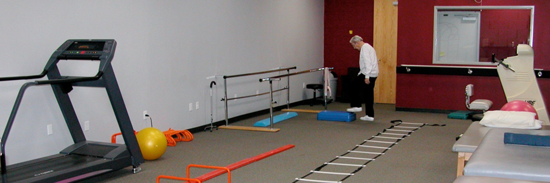 A Physical Therapy Center with non-slip rubber flooring.